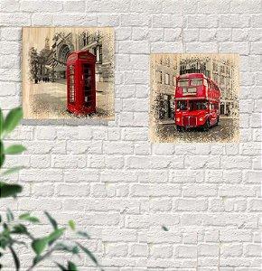 Kit 2 Quadros Em Pinus Decorativo Londres Ônibus E Telefone