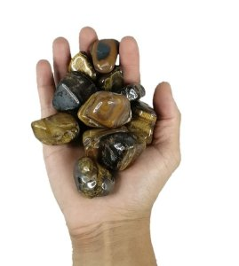 1kg De Pedra Rolada De Olho De Tigre - Natural Grande 3-6cm
