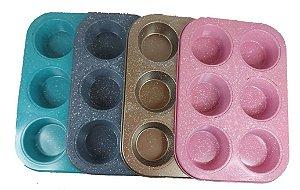 Forma De Cupcake / Muffin Para 6 Cavidades Antiaderente Teflon