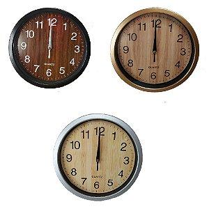 Relógio De Parede Analógico P/ Sala Cozinha Tipo Madeira