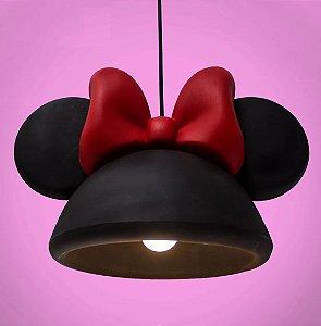 Luminária Pendente Infantil Da Minnie Aberta Preta - Disney