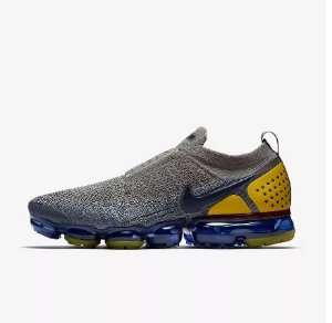 Tênis Nike Air VaporMax Flyknit MOC 2 - Feminino - Cinza, Azul e Amarelo