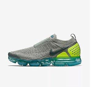Tênis Nike Air VaporMax Flyknit MOC 2 - Feminino - Cinza, Azul e Verde