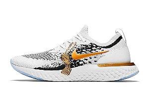 Tênis Nike Epic React Flyknit - Masculino - Branco e Dourado