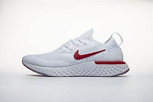 Tênis Nike Epic React Flyknit - Masculino - Branco e Vermelho