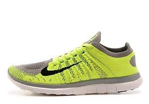 Tênis Nike Free 4.0 Flyknit - Masculino - Verde e Cinza
