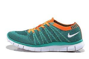 Tênis Nike Free 5.0 Flyknit - Masculino - Verde e Laranja