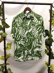 Camisa manga curta estampada verde (M)