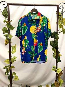 Camisa manga curta estampada azul (M)