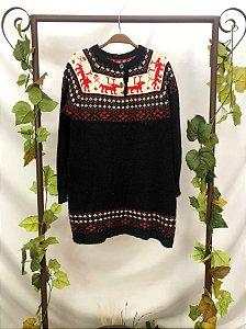Blusa de tricot vintage estampada