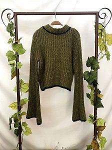Blusa vintage de Tricot Verde (P)