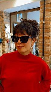 Óculos de sol vintage quadrado preto