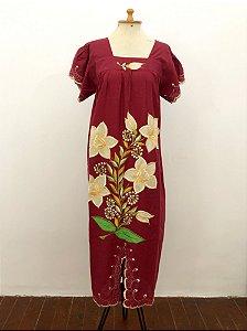 Vestido flores bordado