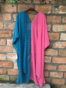 Kimono customizado bicolor azul e rosa