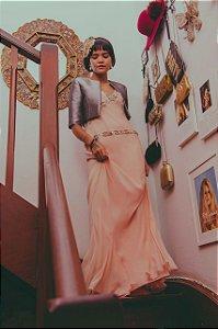 Vestido longo bordado strass 14