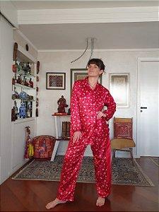 Pijama vintage de cetim manga longa G
