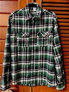 Camisa xadrez flanela verde e branco GG