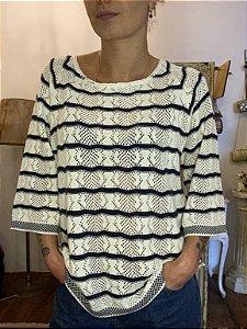 Blusa de crochet listrada (G)