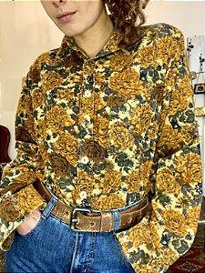 Camisa vintage veludo cotelê estampada (M)