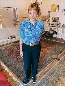 Camisa vintage de seda vitral