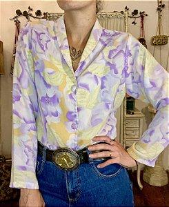 Camisa vintage estampada manga longa