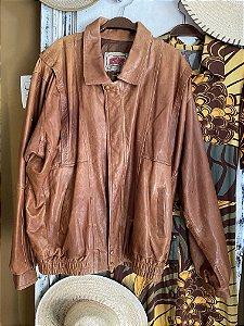 Jaqueta vintage de couro caramelo (G)