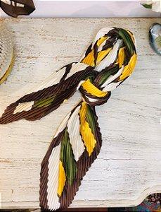 Lenço Vintage Seda marrom e amarelo