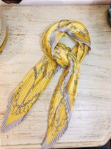 Lenço Vintage Seda correntes amarelo