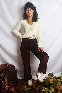 Calça pantacourt Veludo Cotele Zara