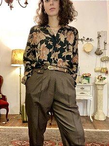 Camisa Vintage preta flores (G)