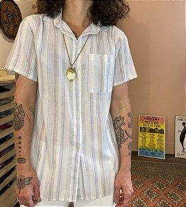 Camisa Vintage Listras Manga curta