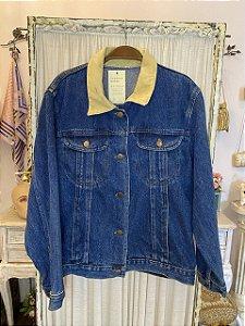 Jaqueta Jeans Vintage com Gola de Suede