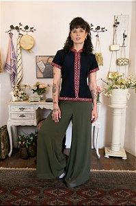 Calça Nova Pantalona Fluida verde (38)