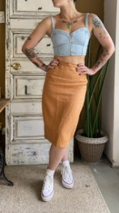 Saia Midi Vintage de linho (38)
