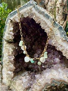 Colar Corrente com banho de ouro e Pedra de Jade
