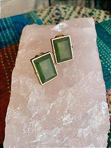 Brinco vintage de pressão Retangular Pedra Verde Rasa