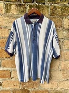 Camisa polo vintage listrada oversized G - azul
