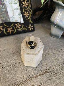 Anel vintage Pedra Preta dupla
