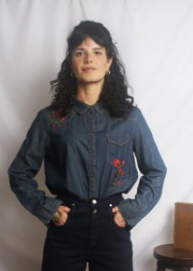 Camisa jeans nova Bordada Zara (XL)