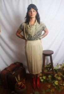 Conjunto vintage saia e blusa ModaMaglia (M)