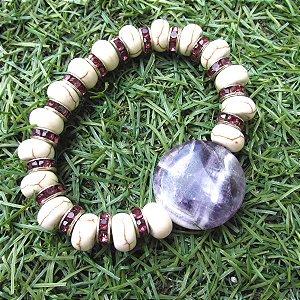 Pulseira chapa cristalina - escolha a pedra