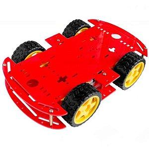 Kit Chassi 4WD 4 Rodas com Motores em Acrílico Vermelho