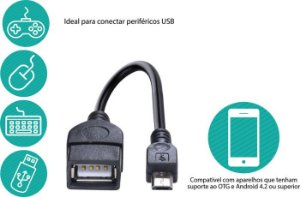 Adaptador USB Fêmea para Micro USB OTG UFMU-OTG
