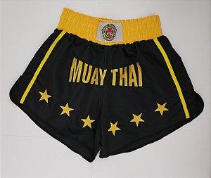 Calção Muay Thai Preto Estrela Amarela Nakmuaynavarros