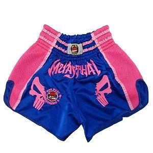 Calção Muay Thai Azul Caveira Rosa Modelo Retrô Nakmuaynavarros