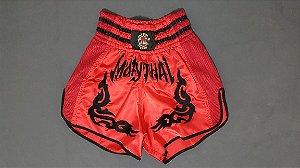 Calção Muay Thai Vermelho Tribal Preto Modelo Retrô Nakmuaynavarros