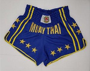 Calção Muay Thai Azul Estrela Amarela Nakmuaynavarros