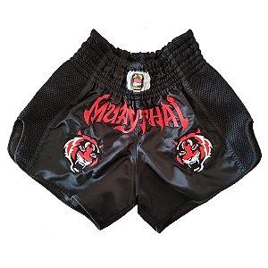 Calção Muay Thai Preto Tigre Vermelho Modelo Retrô Nakmuaynavarros