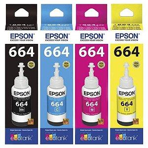 Kit 4 Tintas T664 Epson L395 L380 L375 L220 L455