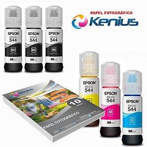 Kit Refil 6 T544 L3110 + Papel Foto 10X15 10 Folhas Kenius